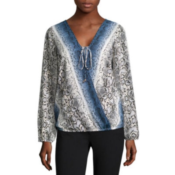 3f80874fd72 Alyx Tops - Alyx Long-Sleeve Wrap-Front Top Blue Snake Print